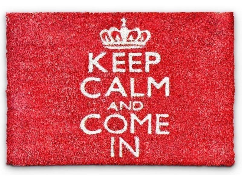 Paillasson tapis porte d'entrée essuie-pieds fibre de coco rouge 60 x 40 x 1,5 cm helloshop26 2013019
