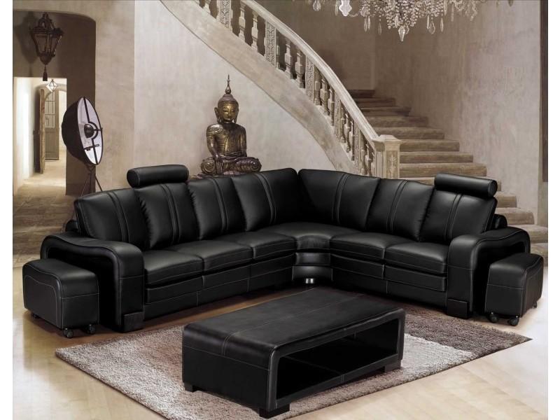Canapé d'angle en cuir noir avec appuie tête relax havane (angle droit)-