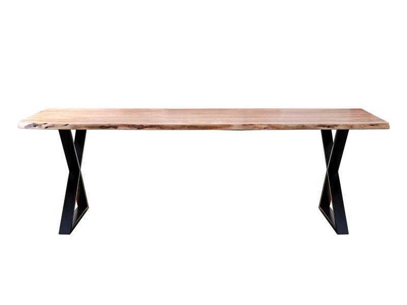 Bobochic table awa bois acacia massif et pieds en croix métal noir 200