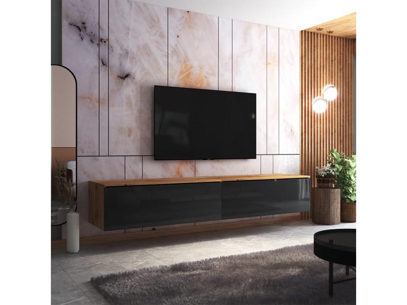 Meuble tv - skylara - 200 cm - chêne wotan / noir brillant