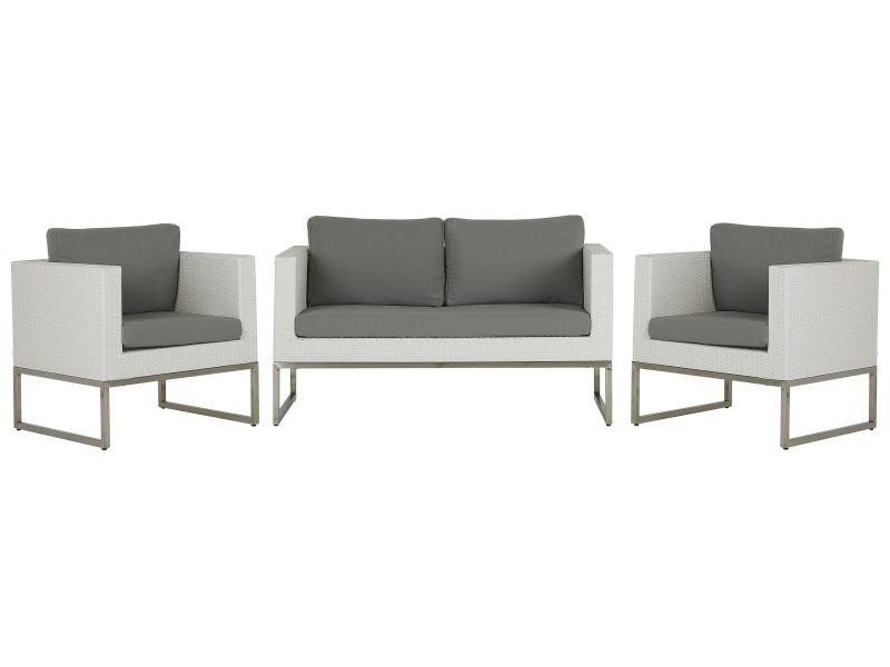 Salon de jardin 4 places en rotin blanc avec coussins gris crema 207873