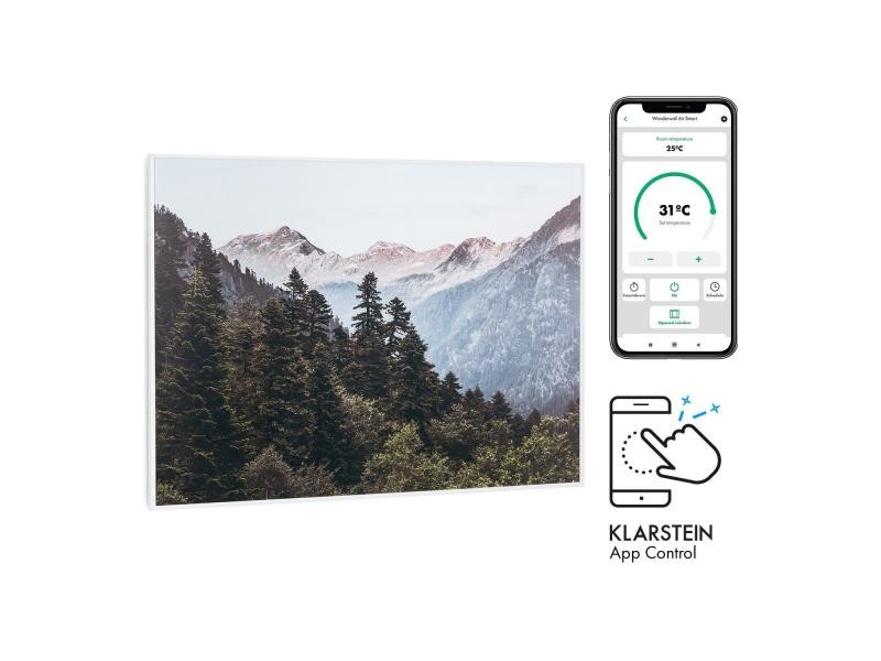 Klarstein wonderwall air art smart radiateur infrarouge connecté , 80 x 60cm , chauffage 500w , pour 10m² , , design montagnes