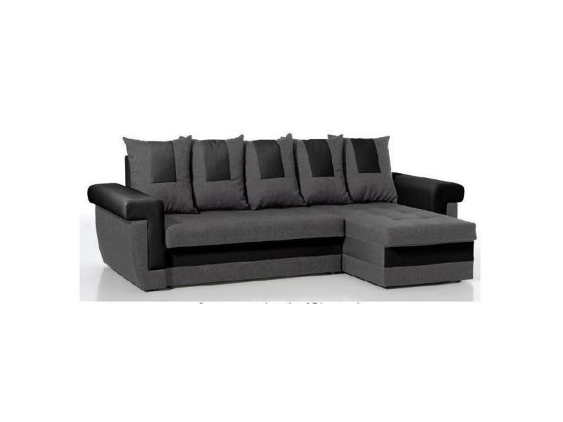 canap d 39 angle convertible rapido demos en bi mati re anthracite et noir 20100865740 conforama. Black Bedroom Furniture Sets. Home Design Ideas
