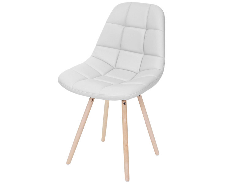 Chaise de salle à manger hwc-a60 ii, chaise de cuisine, design rétro des années 50 ~ similicuir blanc