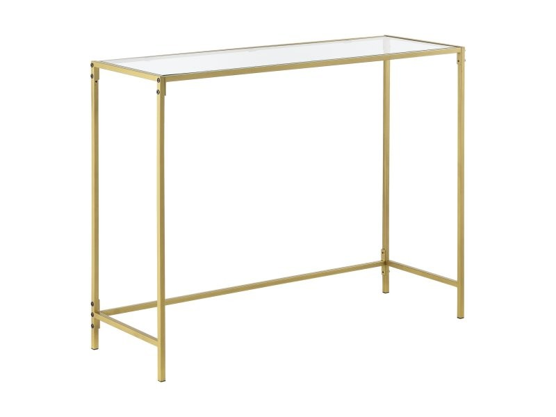 Table console pour salon d'appoint design plateau en verre pieds en acier 100 cm doré helloshop26 03_0006182