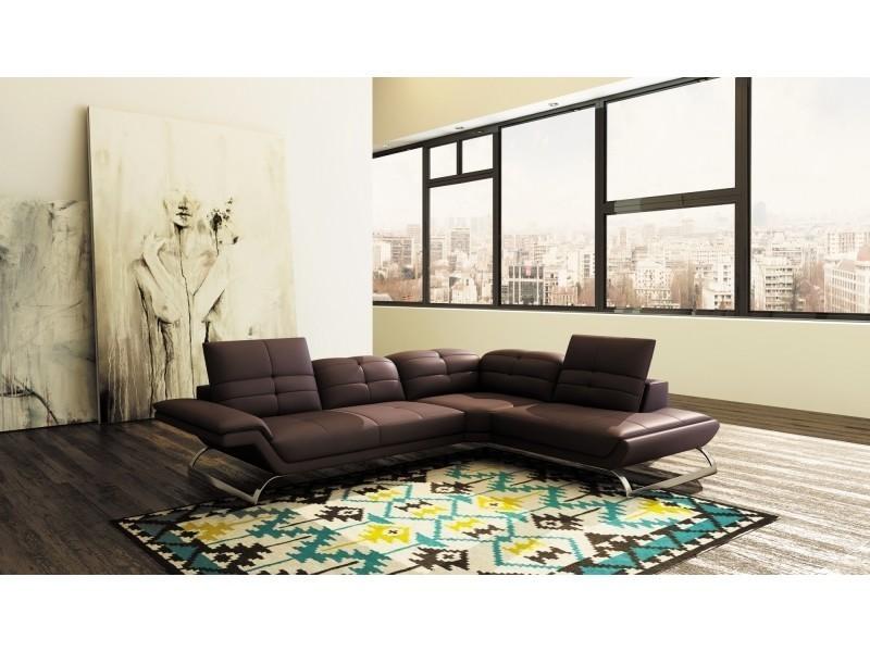 Canapé d'angle design en cuir marron aurore (angle droit)-