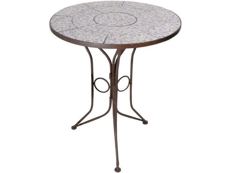 Table en c ramique et fer forg vente de esschert design conforama - Table de jardin ceramique et fer forge ...