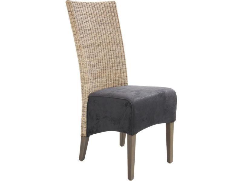 Chaise en rotin 3 nuances et teck tinté gris, 43 x 61 x 106 cm -pegane-