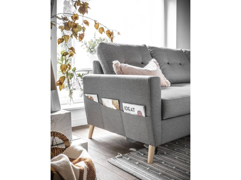 oslo canap d 39 angle droite convertible gris clair 225x147x86cm vente de bobochic. Black Bedroom Furniture Sets. Home Design Ideas