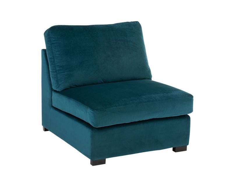 Fauteuil chauffeuse velours bleu canard - rurutu - l 96 x l 79 x h 77 - neuf