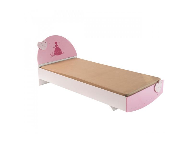 Chambre enfant féérie rose et blanc perle cb125 90x190 ...