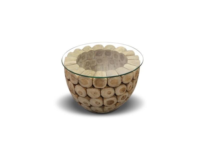 Table basse en bois de teck avec plateau en verre trempé - kontiki