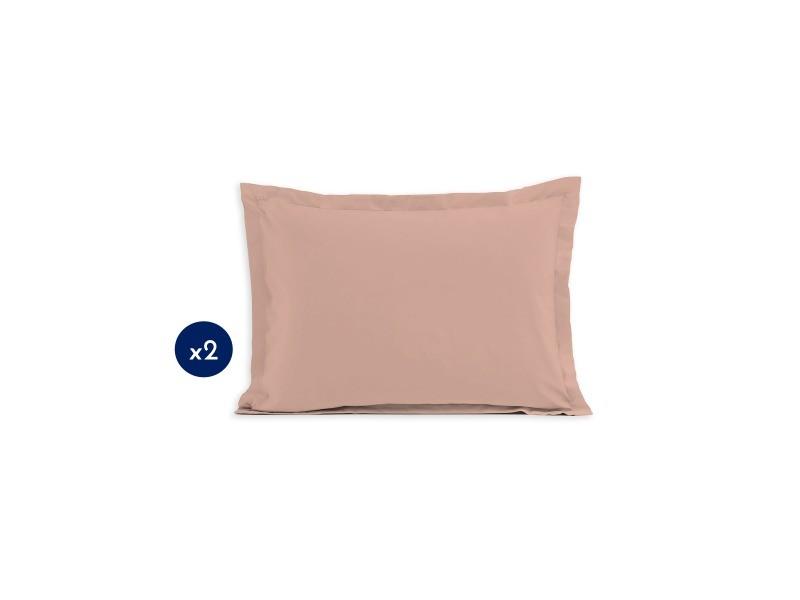 Lot de 2 taies d'oreiller - format rectangulaire 50x70 cm 57 fils - rose