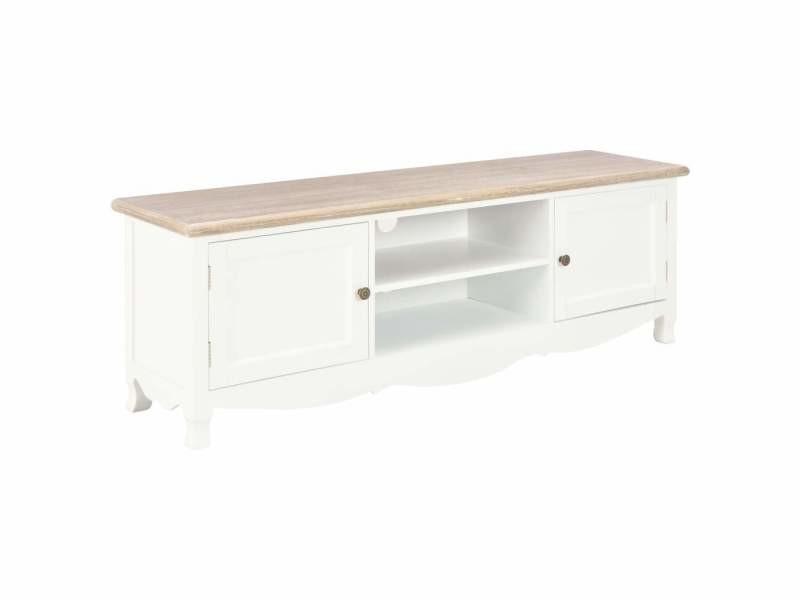 Meuble télé buffet tv télévision design pratique blanc 120 cm bois helloshop26 2502113