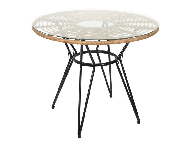 Table de repas ronde - l 90 x l 90 cm - verre