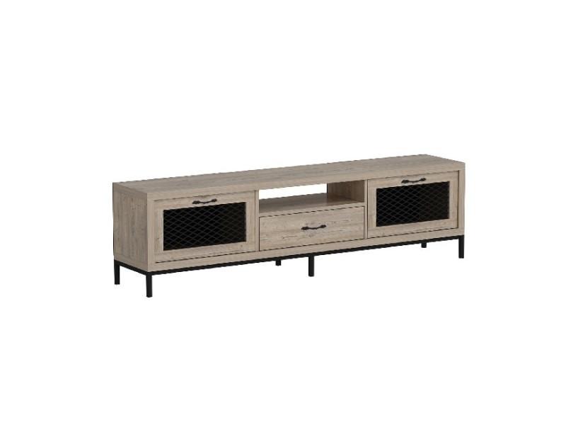 Homemania meuble tv zeus moderne - avec portes, étagères, tiroir - par salotto - bois, noir en bois, 180 x 35 x 49 cm