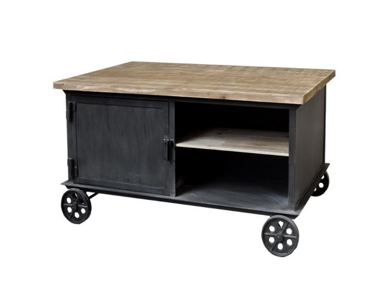 Table basse table de salon fer metal bois à roulettes industriel campagne 104x69 cm 10837