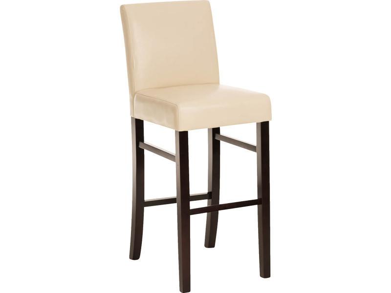 Tabouret de bar en bois avec siège en polyuréthane cappuccino / crème- 108 x 42 x 50 cm -pegane-