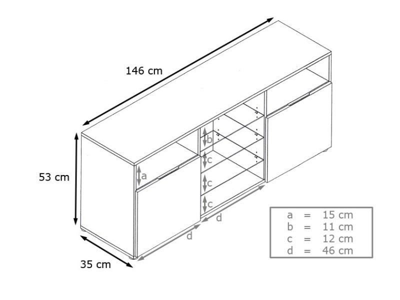 Meuble design tv blanc façade laquée sans led