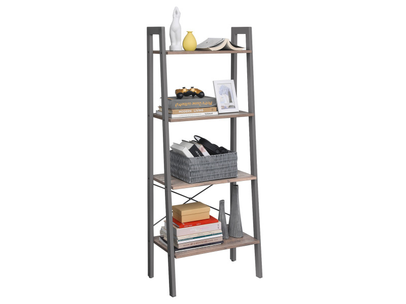 Vasagle étagère de rangement, bibliothèque à 4 niveaux, avec cadre en métal, balcon, style industriel, greige et gris lls44mg pour Salon, Chambre, Cuisine,56 x 34 x 137,5