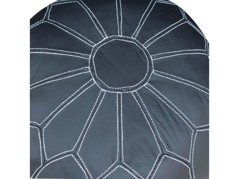 Icaverne - poufs chic pouf cuir véritable rond gris 48 x 48 x 38 cm