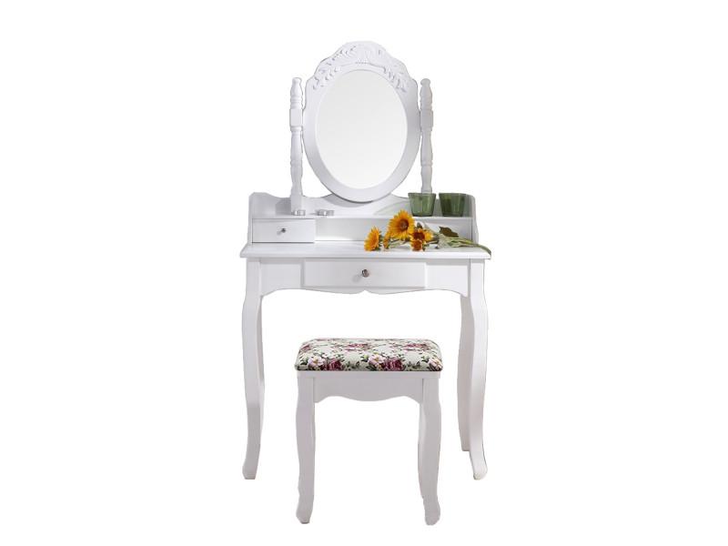 coiffeuse blanche avec si ge et miroir conforama. Black Bedroom Furniture Sets. Home Design Ideas