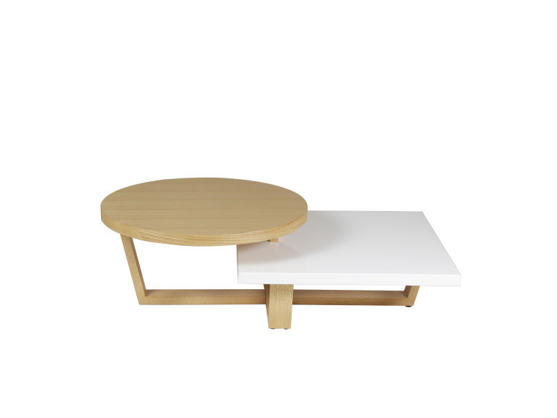 Table basse double plateaux plaqué chêne et laqué blanc jill - blanc/blanc - blanc/blanc JILL-TBR120