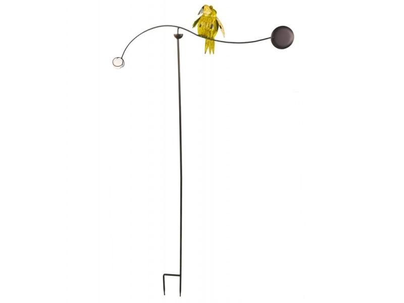 Tuteur tige pour plantes motifs oiseaux ou mobile de jardin rotatif à planter en fer patiné multicolore 82x82x144cm