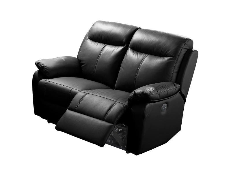 Ticory - canapé relax electrique 2 places noir