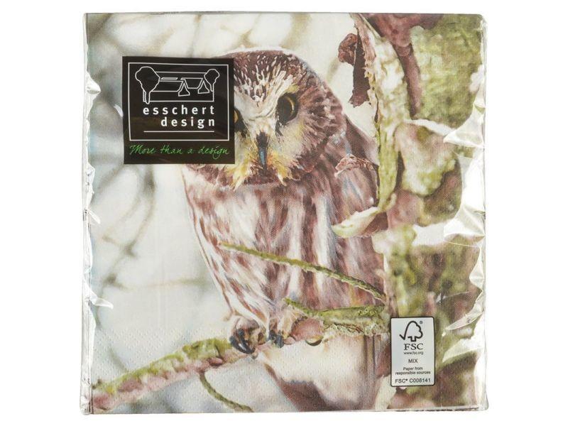 Serviette en papier de soie avec motifs (lot de 20) cerf et chouette