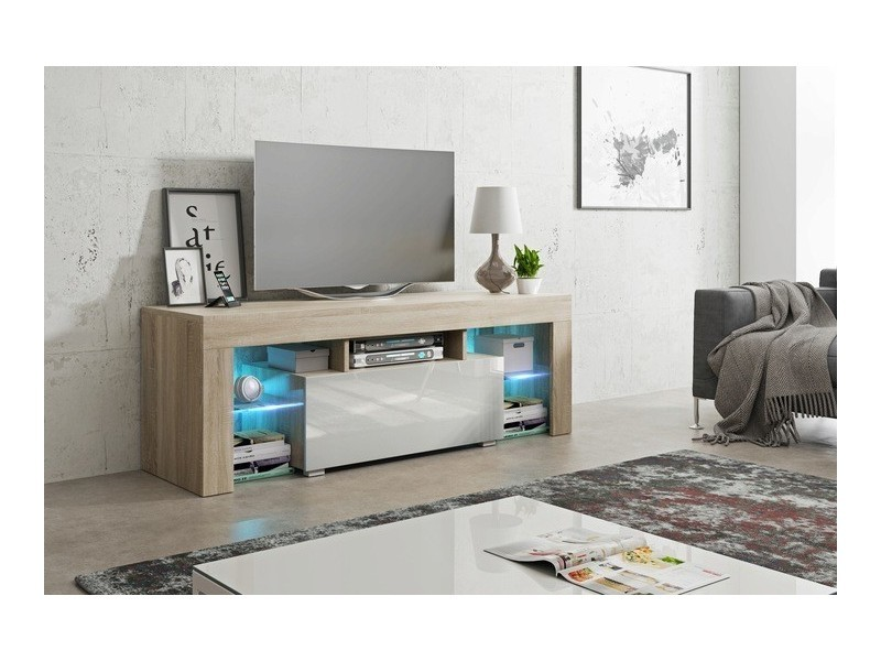 Meuble tv 130 cm sonoma et blanc led rgb