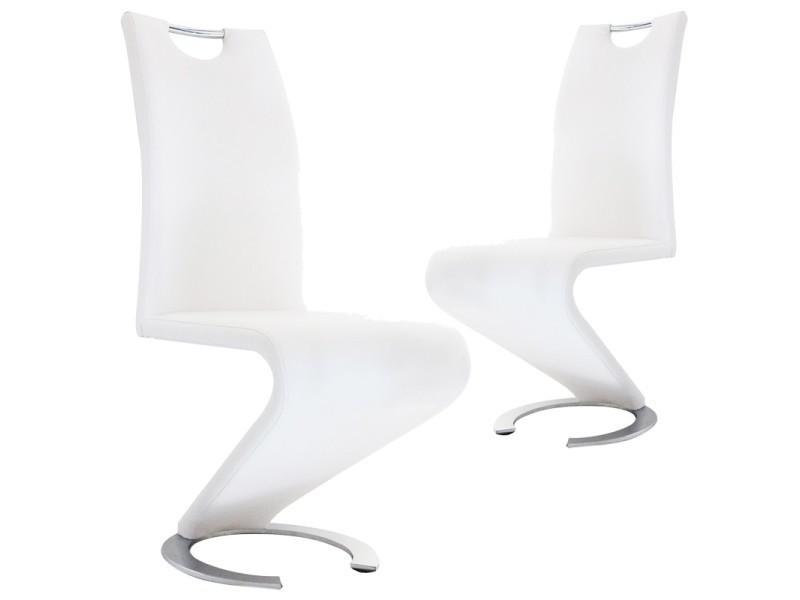 Lot de 2 chaises blanc design hugo vente de chaise conforama
