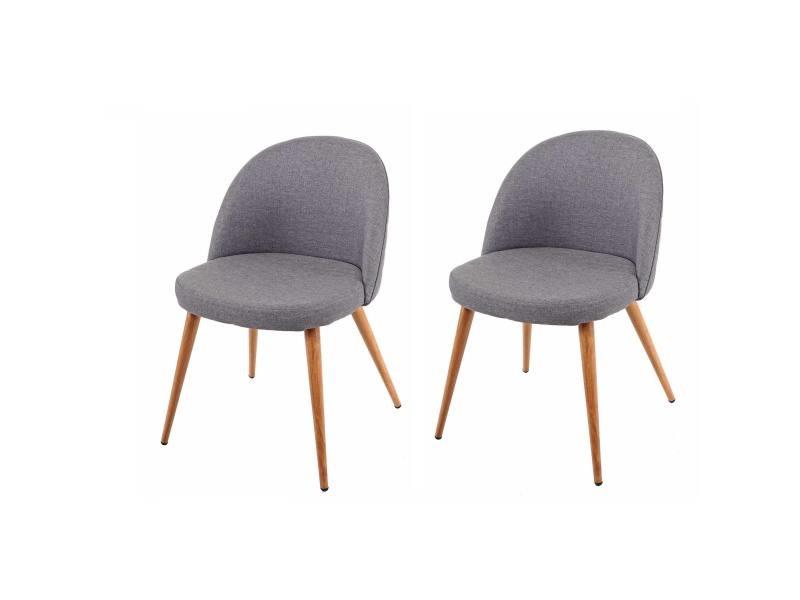 2x chaise de salle à manger hwc-d53, fauteuil, style rétro années 50, en tissu ~ gris foncé