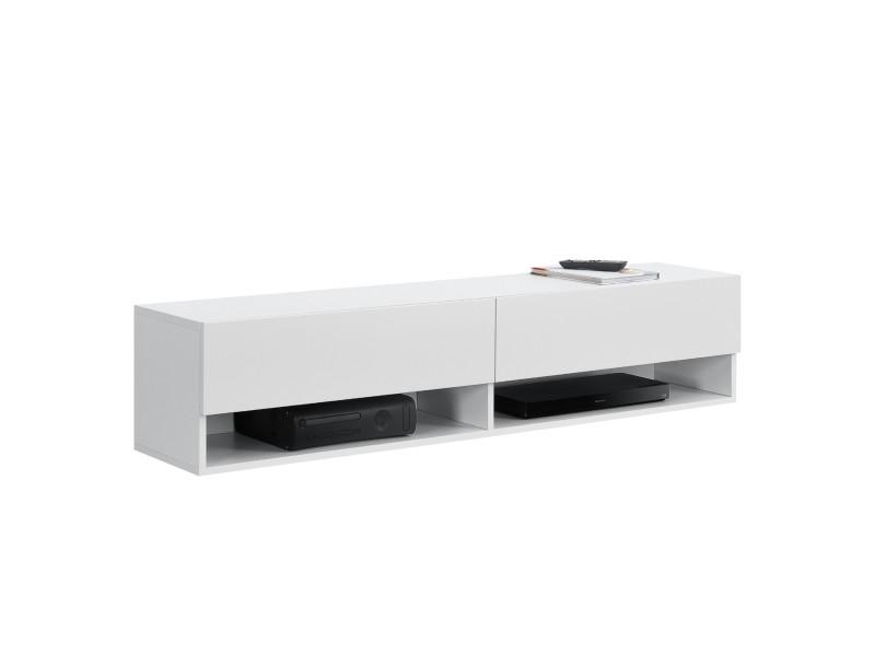 Étagère murale design à 2 portes meuble support tv stylé avec compartiments de rangement fermés et ouverts capactié de charge jusqu'à 25 kg panneau de particules mélaminé 140 x 31 x 30 cm blanc [en.casa]
