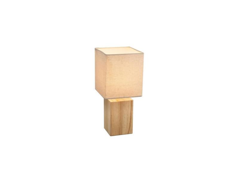Tissu Interrupteur Cm Beige A Lampe Poser 16x16x35 Bois W2eH9EDIY