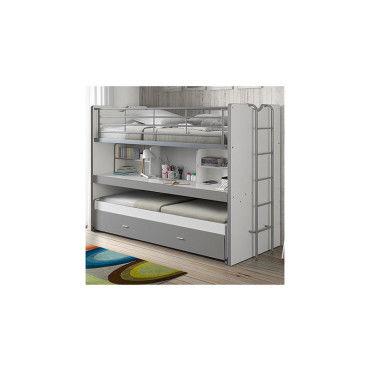 lits superpos s 3 couchages 90x200 cm blanc et gris. Black Bedroom Furniture Sets. Home Design Ideas