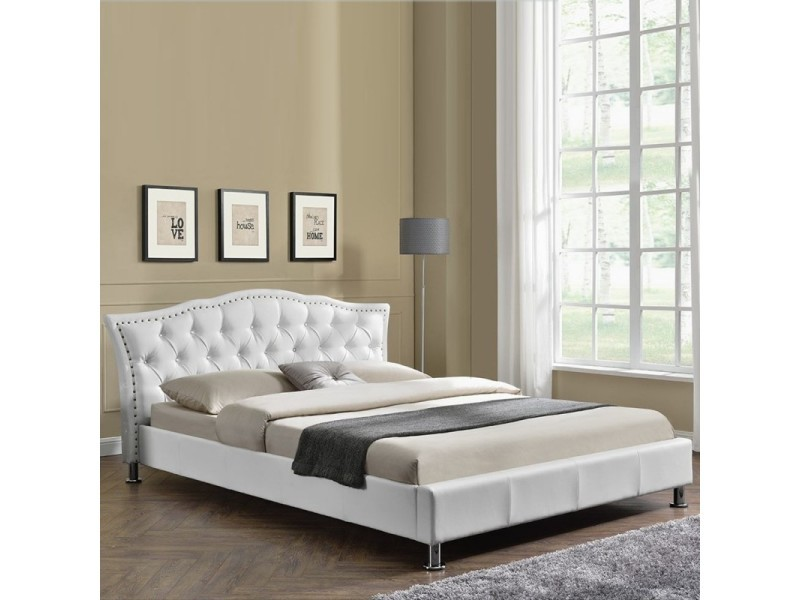 lit capitonn milano blanc tailles 160x200 vente de meubler design conforama. Black Bedroom Furniture Sets. Home Design Ideas