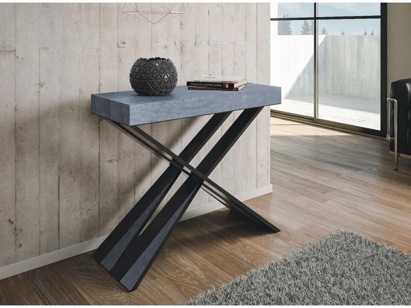 Table console extensible diago - bois béton - 3 rallonges
