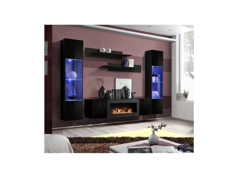 Ensemble Mural Fly M 1 Meuble Tv 2 Vitrines Verticales