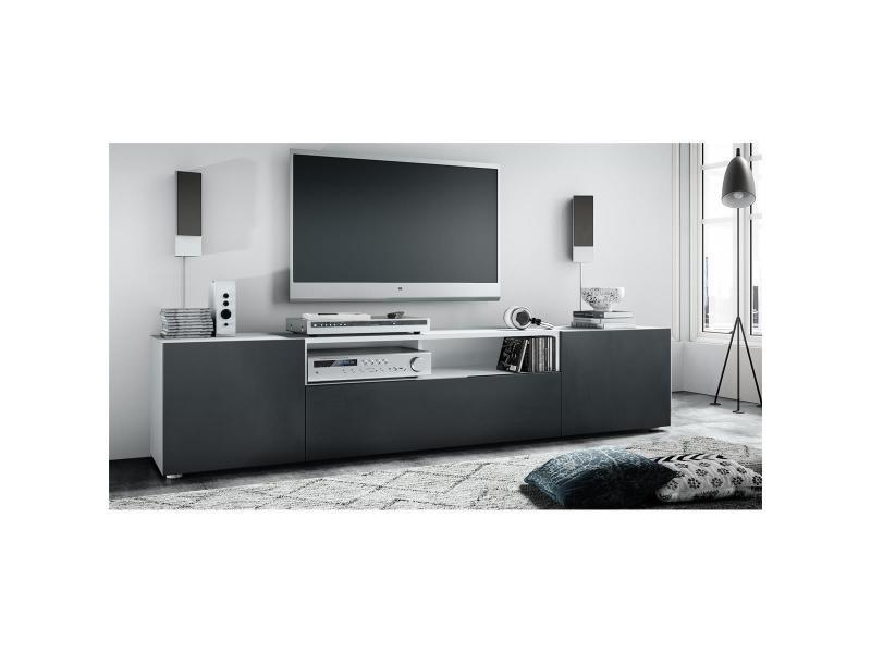 Meuble tv blanc et noir mat 180 cm