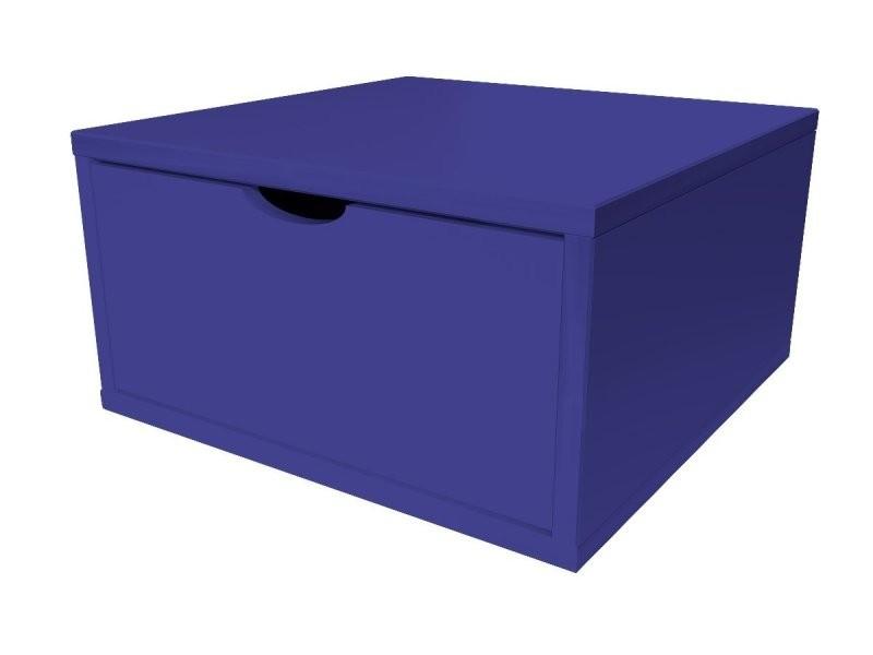 Cube de rangement bois 50x50 cm + tiroir bleu foncé CUBE50T-DF