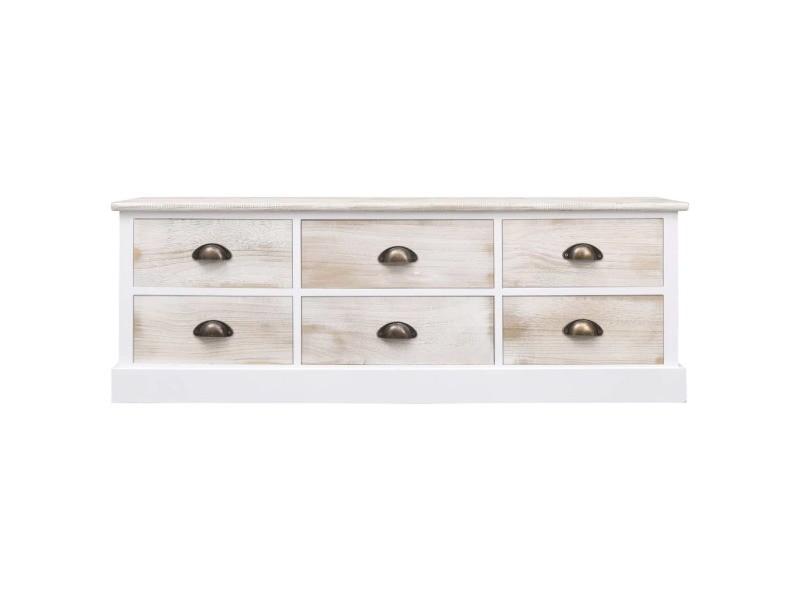 Icaverne - bancs coffres gamme banc d'entrée blanc et naturel 115x30x40 cm bois