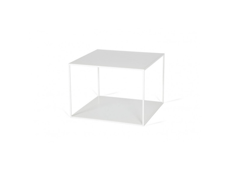 Table basse industrielle carrée en métal flora / coloris : blanc