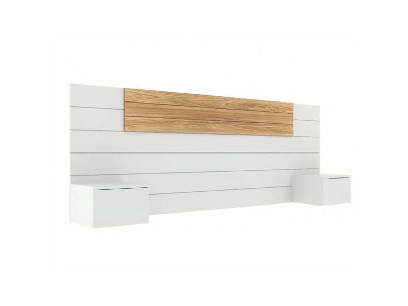 Tête de lit avec chevets freeda blanc et bois 160 cm