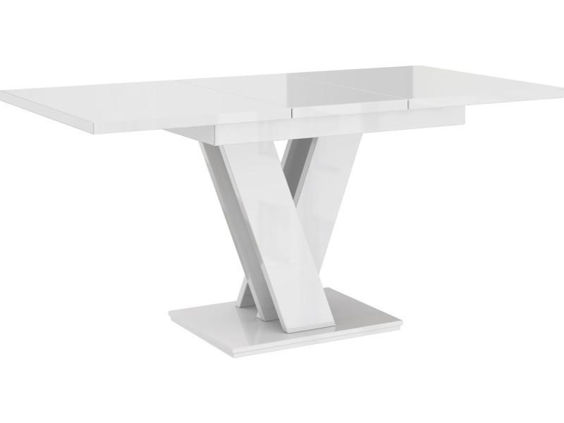 Table a manger extensible massi - blanc laque 120-160 cm
