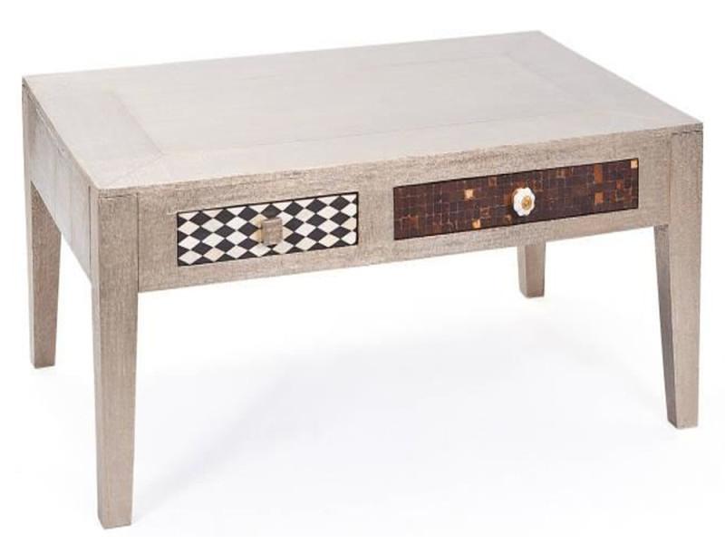 Table basse avec 2 tiroirs - dim : 110 x 70 x 45 cm -pegane-