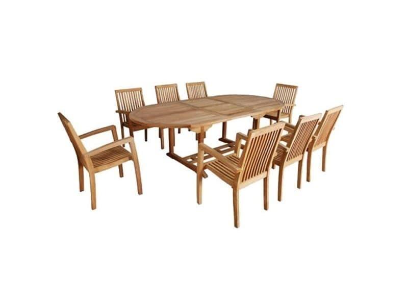 Salon de jardin en bois de teck 8 à 10 places - Vente de Salon de ...
