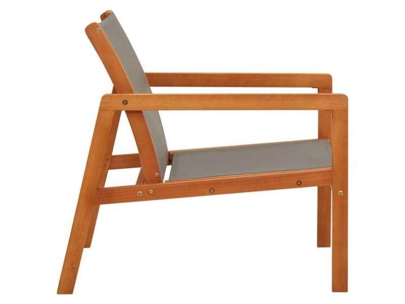 Vidaxl chaise de jardin gris bois d'eucalyptus solide et textilène 48697