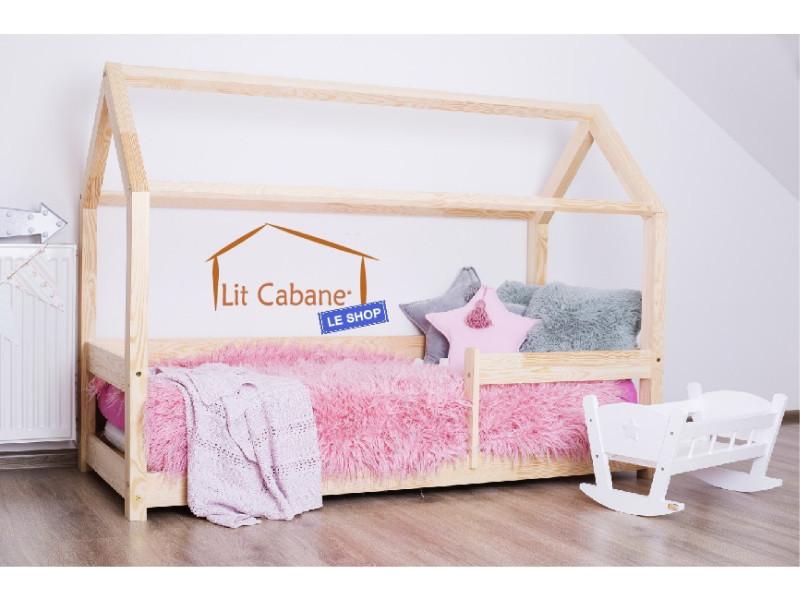 lit cabane 90x140 en pin massif barri re sommier milo. Black Bedroom Furniture Sets. Home Design Ideas