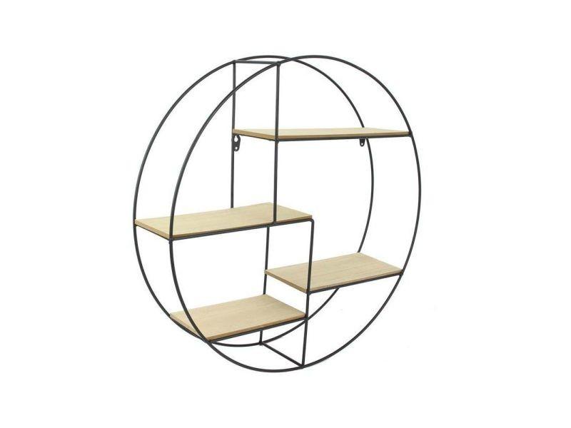 The home deco factory étagere ronde en bois et métal - 50 x 10 x 50 cm - noir et beige